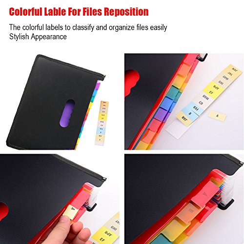 Expanding File Folder 24 Pockets Multi-Color Accordion Files Box A4 Document Organizer with Expandable Wallet Stand – Works on Legal Size and Letter Size by Huztl Photo #7