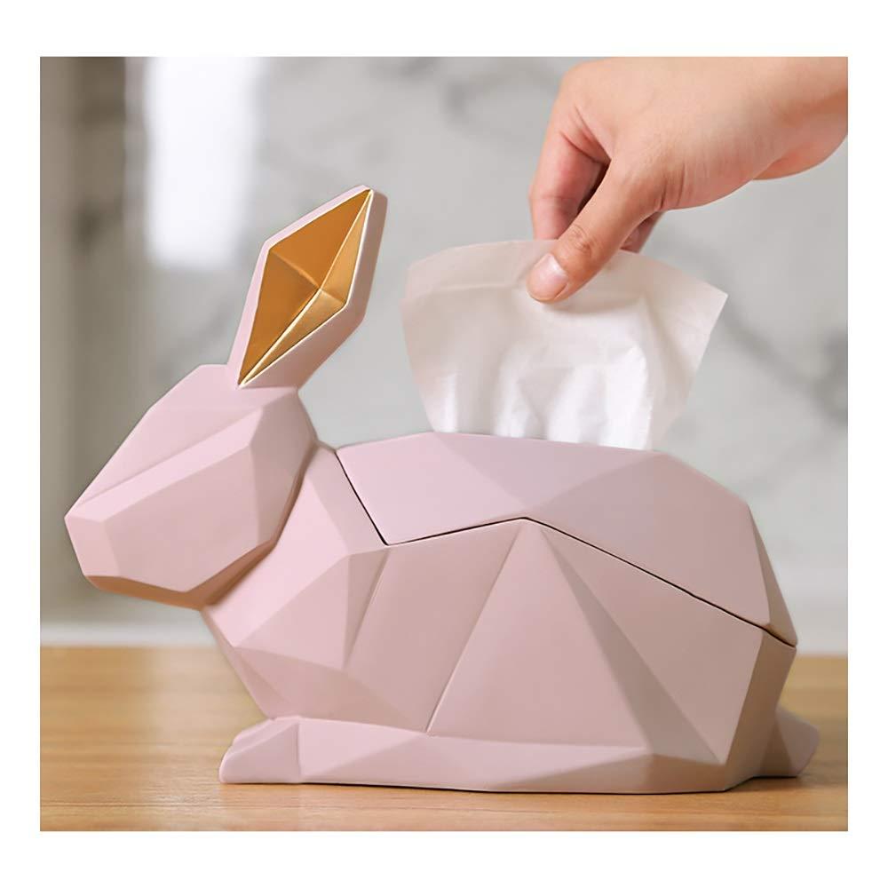 AWYDHC Nordic Creative Tissue Box Rabbit Shaped Tissue Holder Tissues Napkin Box Geometric Shape Art Tissue Holders Elegant Bathroom Decor for Home Office Desk (Color : Pink) by AWYDHC