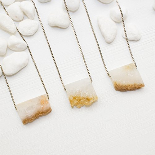 Slices Smooth - Mini Citrine Slice Necklace - Smooth Rectangle Yellow Stone Necklace Natural Gemstone Jewelry, 16 inch chain - Handmade in the US