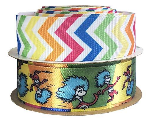Dr. Seuss Fabric Ribbon,Dr Seuss Party Supplies-7/8 Inch Satin Fabric Craft Ribbon for Dr Seuss Classroom Decorations, Dr Seuss Party Favor-(5yd Chevron, 3yd Thing 1 Thing 2 Party Decorations) -