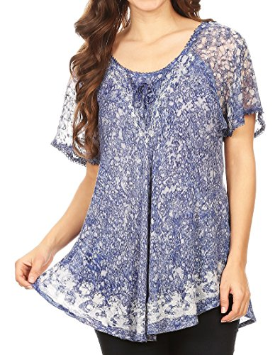 Handmade Embroidered Cotton Top (Sakkas 16482 - Ash Speckled Tiedye Embroidered Cap Sleeve Blouse Top With Embroidery Hems - Royal Blue - OS)