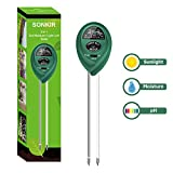Sonkir Soil pH Meter, 3-in-1 Soil Moisture/Light/pH Tester Gardening Tool Kits for Plant Care, Great for Garden, Lawn, Farm, Indoor & Outdoor Use