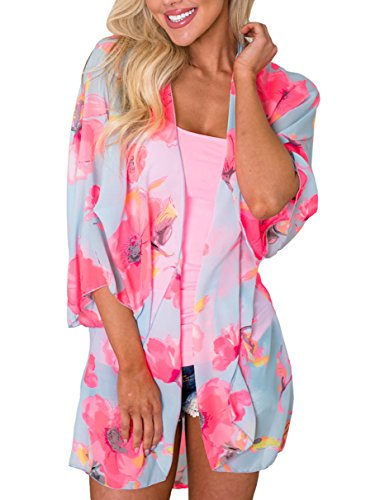 (PRETTODAY Women Floral Kimono Loose Half Sleeve Shawl Chiffon Casual Cardigan (X-Large, Pink))