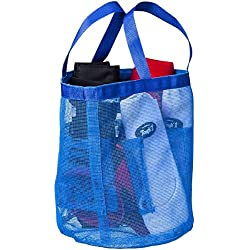 JTI Tough 1 Blue Mesh Wash Bathing Tote Sports Bell Boots Carry All Bag 7 Pockets Handles