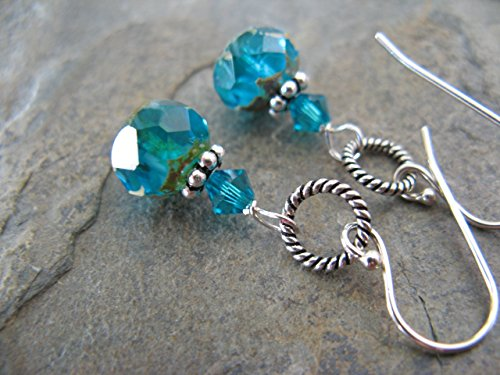 Aqua Czech Glass Sterling Silver Earrings Artisan - Earrings Glass Czech
