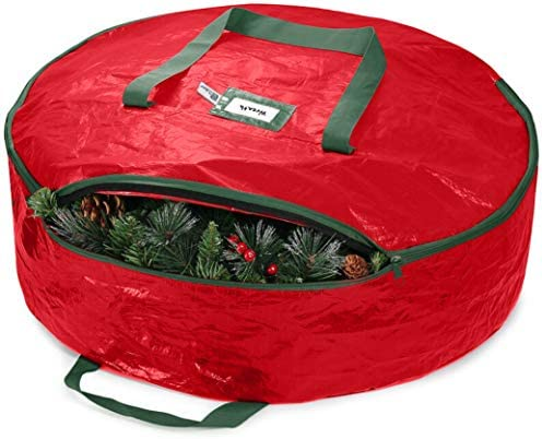"ZOBER Christmas Wreath Storage Bag 36"" - Water Resistant Fabric Storage Dual Zippered Bag for Holiday Artificial Christmas Wreaths, 2 Stitch-Reinforced Canvas Handles, Card Slot for Labeling"