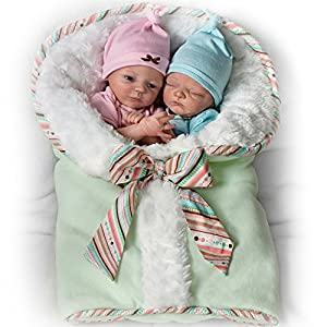 Baby Doll Set: Madison And Mason Twins Baby Doll Set by The Bradford Exchange