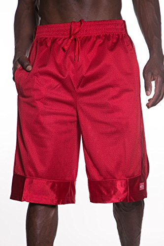 Hat and Beyond Mens Heavy MESH Shorts Athletic Fitness Gym Sports Work Out Basketball S-5XL 1KSA0014 (5X-Large, 1ks14_Red)