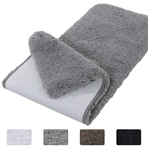 Lifewit Bathroom Rug Bath Mat Non-Slip Rubber Microfiber Soft Water Absorbent Thick Shaggy Floor Mats, Machine Washable, Grey,59