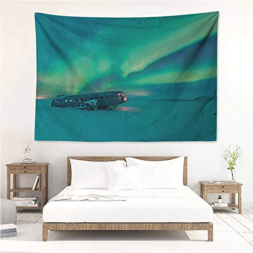 - Aurora Borealis,Wall Decor Tapestry Old Plane Wreck Under Aurora Borealis Misty Winter Day View 80W x 60L Inch Tapestry Wallpaper Home Decor Petrol Blue Lime Green