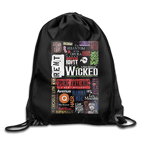 Broadway Musical Collage Drawstring Backpack Bag White