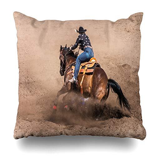 - Ahawoso Throw Pillow Cover Race Racer Cowgirl Riding Her Horse Barrel California Rodeo Sports Recreation Action Arena Design Home Decor Pillow Case Square Size 18x18 Inches Zippered Pillowcase