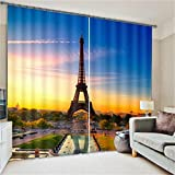 Sproud Modern Designs 3D City Scenery Curtains Home Sun Shade Drapes French Eiffel Tower London Print Blackout Curtains For Living Room-260Cmx400Cm
