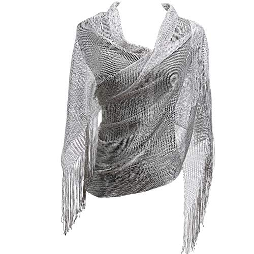 KaKaxi Sheer Glitter Sparkle Piano Shawl Wrap with Fringe Prom Weddings Evening Scarfs,1920s Gatsby Vintage Style,Silver