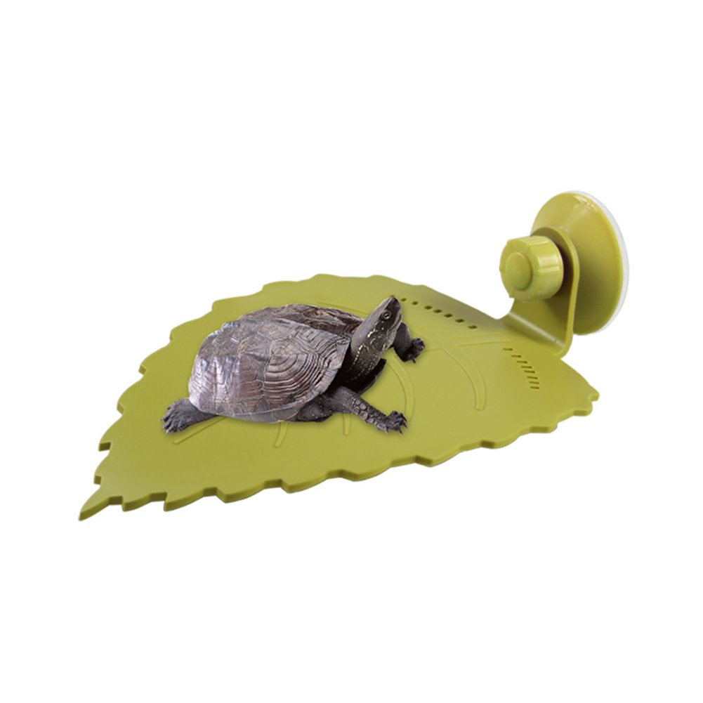Reptile Basking Platform for Amphibian Turtle Frog Newt Crab and Tank Decoration, Food Grade PP Material and Leaf Shape Design, 7.876.14.1 inch(LWH)