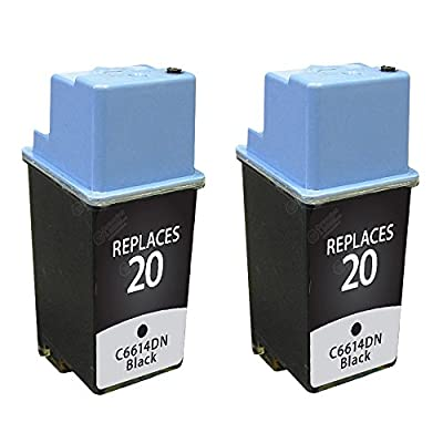 PS Products 2 Black Remanufactured Replacement Ink Cartridges for HP 20 C6614D