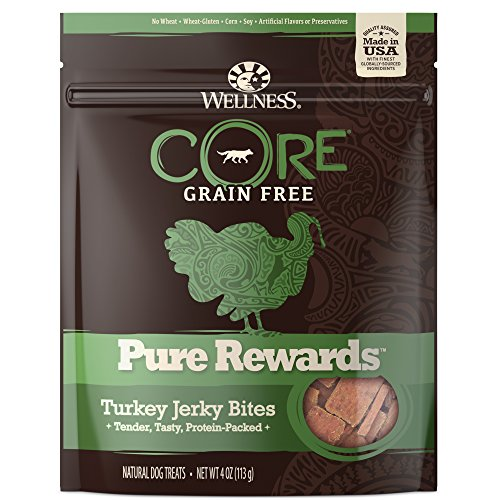(Wellness Core Pure Rewards Natural Grain Free Dog Treats, Soft Turkey Jerky Bites, 4-Ounce Bag)
