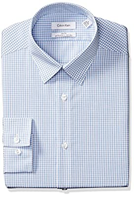 Calvin Klein Men's Non Iron Slim Fit Mini Check Point Collar Dress Shirt