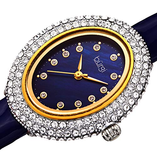 Burgi Designer Women's Watch – Studded Oval Bezel with Double Row of Genuine Swarovski Crystals, Blue Patent Leather Strap, 12 Crystal Markers - BUR234BU ()