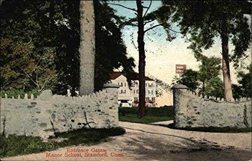 Entrance Gates, Manor School Stamford, Connecticut Original Vintage Postcard (Gate Manor Gate Manor)