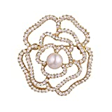 Big Flower Brooch Gold Plated Pin Rose Floral Pearl Centered Crystal Brooches