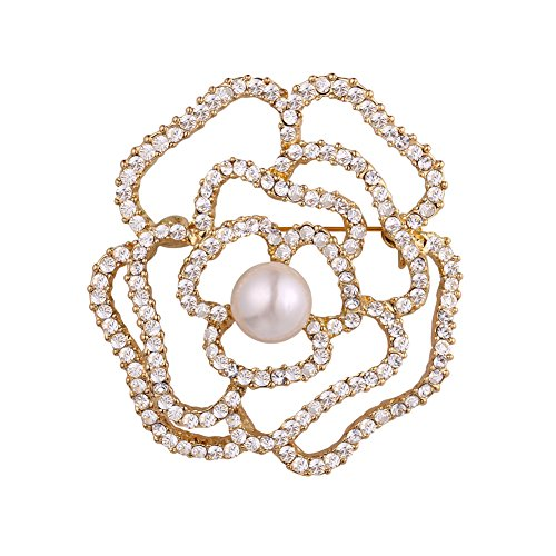 U7 Big Flower Brooch Gold Plated Pin Rose Floral Pearl Centered Crystal Brooches
