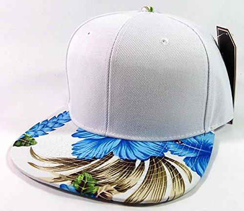 blank-hawaiian-floral-snapback-hats-fashion-white-blue
