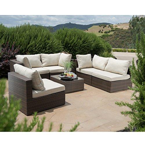 Supernova outdoor patio 6pc sectional furniture wicker for Sofa exterior amazon