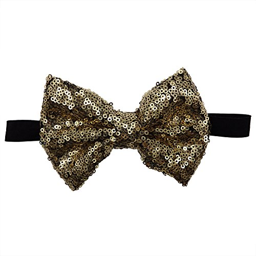 Rarelove Baby Girls Headband Golden with Black Bowknot Sequin Hair Bands Accessories