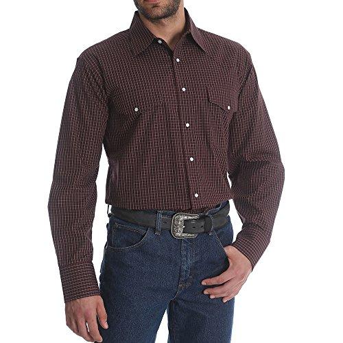 Wrangler Men's Burgundy Wrinkle Resistant Western Shirt Burgundy X-Large by Wrangler
