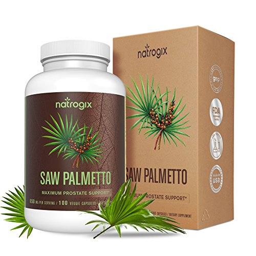 Saw Palmetto Extra Strength for Prostate Health by Natrogix - High Potency Extract to Promote Healthy Urination Frequency & Help Naturally Block DHT Prevent Hair Loss - 650mg / Serving