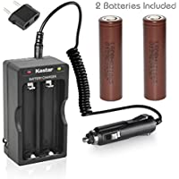Kastar 18650 Dual Rapid Intelligent Charger W/Car Charger & HG2 Battery (2 Pack), LG HG2 Quality Rechargeable 3000mAh (High Drain 20A) Flat Top for Electric Tools, Toys, LED Flashlights and Torch ect.