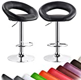 Dining Stools WOLTU ABSX1004blk-a Set of 2 Barstools Leather Hydraulic Lift Adjustable Counter Bar Stool Dining kitchen Chair Black swivel