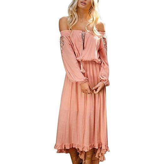662e5c41704d Women s Sexy Ruffles Lace up Long Sleeve Off Shoulder Casual Loose Maxi  Long Dress (Pink