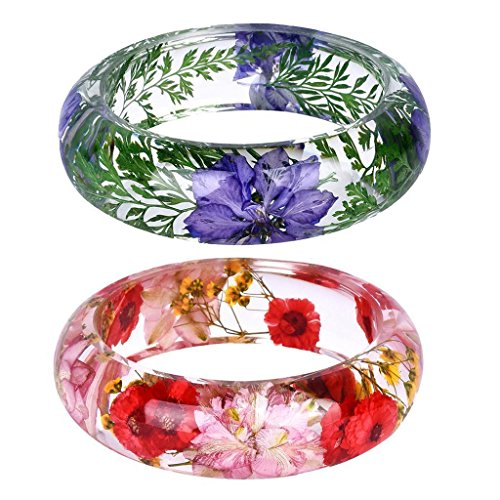 - FidgetGear 2Pcs Handmade Lucite Resin Daisy Dried Flower Womens Bracelet Cuff Bangle