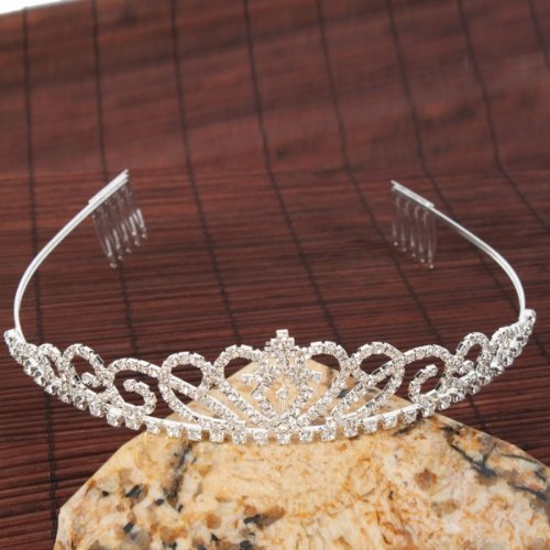 Pixnor Gorgeous Pretty Rhinestone Tiara Crown Exquisite Headband Comb Pin Wedding Bridal Birthday Tiaras -