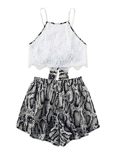 MAKEMECHIC Women's 2 Piece Outfit Summer Snakeskin Print Lace Crop Halter Top with Shorts Snakeskin - Top Short Halter Dress
