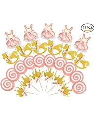 Kapok life 27-pac Pink and Gold Girl Baby Shower Cupcake Toppers Picks, Glitter Crown Dress Trojan Lollipop Cake Toppers, Girls Birthday Party Favor Decoration Kit