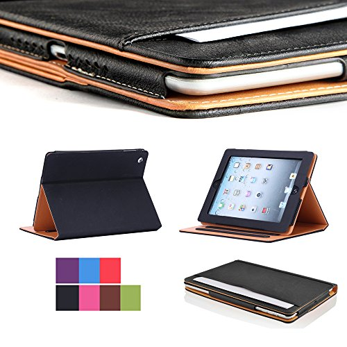 I4UCase Apple iPad 9.7 Inch 2018(6th Generation) Case - Soft Leather Stand Folio Case Cover for iPad 9.7 Inch, with Multiple Viewing angles, Auto Sleep/Wake, Document Card Pocket (Black)