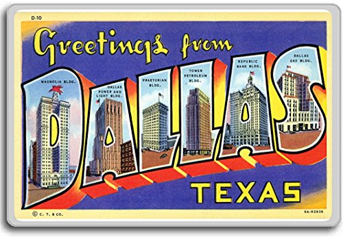 Greeting From Dallas, Texas - Vintage 1940s Postcard fridge magnet