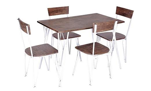 Enrico Coveri Contemporary - Juego de Mesa con 4 sillas de Madera ...