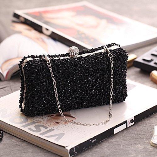 frizione borsa perline della nuziale festa Black della borsa Color Borsa Black borsa borsa Hungrybubble della della di della borsa della della 0TfWnZ1fB
