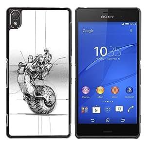 Caucho caso de Shell duro de la cubierta de accesorios de protección BY RAYDREAMMM - Sony Xperia Z3 D6603 / D6633 / D6643 / D6653 / D6616 - Wheel Tattoo Ink Art