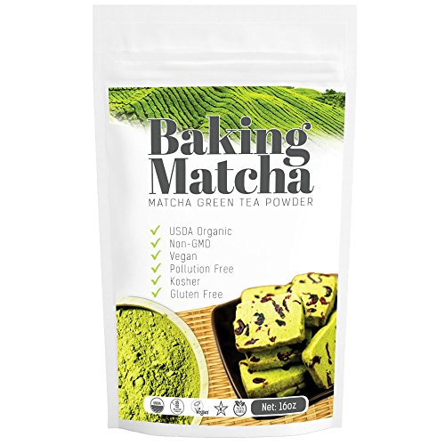 Baking Matcha Green Tea Powder (16oz) - Organic, Antioxidant-Rich, Acts as Natural Fat Burner and Sustains Energy Levels - Great for Desserts, Baked Goods or Ice Cream