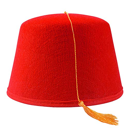 Fez Hat - Red Fez Hat with Gold Tassel – Red Fez Hat - Turkish Hats – Aladdin Costume - By Funny Party Hats -