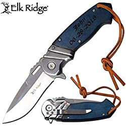 GIFTS INFINITY Personalized Free Engraving - Blue Color PAKKAWOOD Handle Spring Assisted Quality Pocket Knife