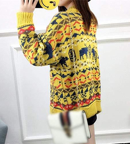 Femme Basic Coat Longues Manteau Manches Gelb Automne en Vetement V Jumper Modle Tricot Bouffant Mode Impression Manteaux Jeune Hiver Cardigan Branch Cou qwEPCwx