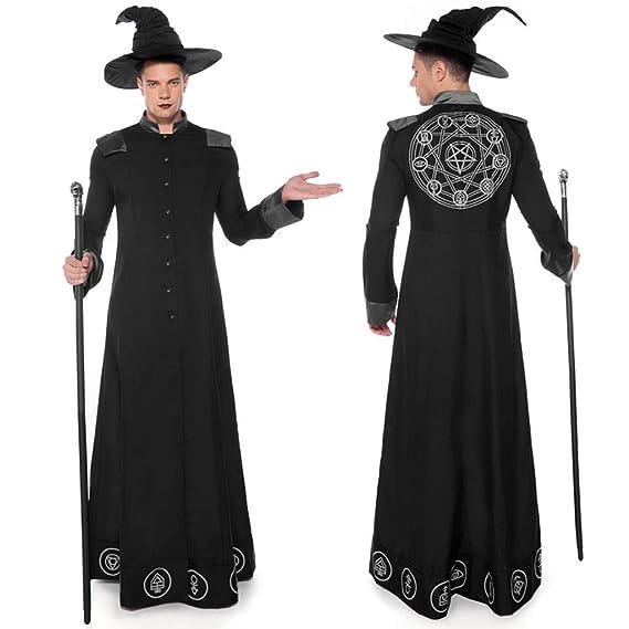 88AMZ Disfraces de Halloween para Hombres Mágicos Disfraz de Mago Monje Onesies Negra de Mágico Sacerdote Traje de Bruja Hechiceros de Ropa Medieval ...