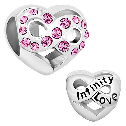 CharmsStory Infinity Love Heart Charms Jan-Dec Birthstone Crystal Beads For Bracelet (OCT BIRTHSTONE)