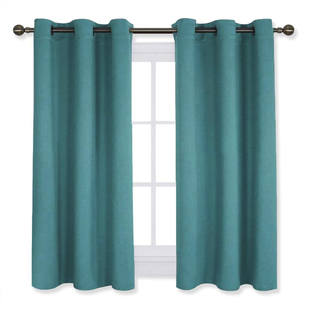 NICETOWN Living Room Window Curtain Panels, Thermal Insulated Solid Grommet Blackout Draperies/Drapes (Sea Teal,One Pair,42 by 54-Inch)